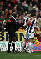 Photo: Rich Eaton.<br /> <br /> Wolverhampton Wanderers v West Bromwich Albion. The FA Cup. 28/01/2007. West Broms Zoltan Gera #11 facing, celebrates scoring in the second half to make the score 3-0 with Jason Koumas