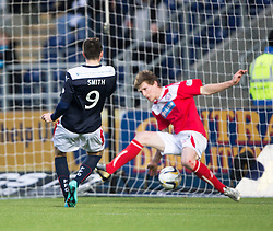 Falkirk's David Smith scoring their second goal. <br /> Falkirk 2 v 1 Brechin City, Scottish Cup fifth round game played today at The Falkirk Stadium.