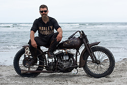 Matt Walksler from the Wheels through Time Museum in Maggie Valley, NC with the Mike Silvio Cycle Mos built Knuckle Buster 1945 Harley-Davidson 45 inch WL racer Matt raced at TROG (The Race Of Gentlemen). Wildwood, NJ. USA. Sunday June 10, 2018. Photography ©2018 Michael Lichter.
