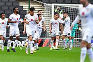 GOAL 1-1 MK Dons' Forward Stephen Walker (11) and celebrates during the EFL Sky Bet League 1 match between Milton Keynes Dons and Hull City at stadium:mk, Milton Keynes, England on 21 November 2020.