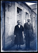 elderly couple standing outside France circa 1930s