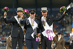 Individual medals, Brauchle Michael, Chardon IJsbrand, De Ronde Koos<br /> Marathon Driving Competition<br /> FEI European Championships - Aachen 2015<br /> © Hippo Foto - Dirk Caremans<br /> 22/08/15