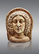 3rd - 2nd century B.C Etruscan architectural voitive plaques of women, inv 4770, National Archaeological Museum Florence, Italy .<br /> <br /> If you prefer to buy from our ALAMY PHOTO LIBRARY  Collection visit : https://www.alamy.com/portfolio/paul-williams-funkystock - Scroll down and type - Etruscan Florence - into LOWER search box. (TIP - Refine search by adding a background colour as well).<br /> <br /> Visit our ETRUSCAN PHOTO COLLECTIONS for more photos to download or buy as wall art prints https://funkystock.photoshelter.com/gallery-collection/Pictures-Images-of-Etruscan-Historic-Sites-Art-Artefacts-Antiquities/C0000GgxRXWVMLyc