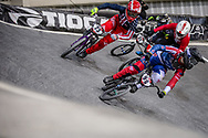#23 (STANCIL Felicia) USA and #96 (WALKER Sarah) NZL at Round 2 of the 2019 UCI BMX Supercross World Cup in Manchester, Great Britain