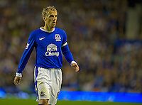 Everton's Phil Neville ..Football - Barclays Premiership - Everton v Manchester United - Monday August 20th 2012 - Goodison Park - Liverpool..