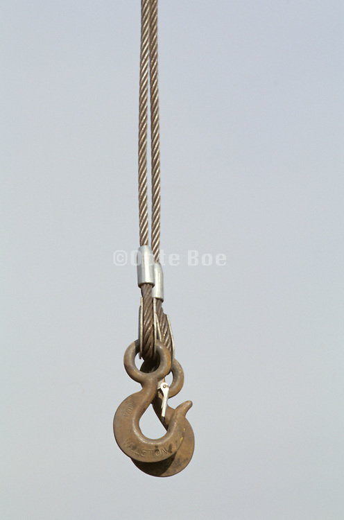 close up of crane hooks and cables