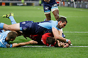 TRY Michael Harris of Lyon during the French championship Top 14 Rugby Union semi-final match between Montpellier v Lyon OU on May 25, 2018 at Groupama stadium in Lyon, France - Photo Romain Biard / Isports / ProSportsImages / DPPI