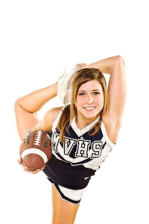 (staff photo by Matt Roth).Thursday, August 20, 2009..Manchester Valley junior cheerleader Courtney Bull.