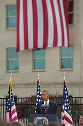 September 11, 2016 - Arlington, United States of America - U.S President Barack Obama speaks during a ceremony commemorating the 15th anniversary of the 9/11 terrorist attacks at the Pentagon September 11, 2016 in Arlington, Virginia. (Credit Image: © Spc. Trevor Wiegel/Planet Pix via ZUMA Wire)
