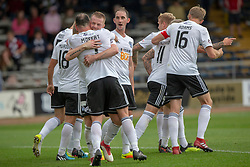 Ayr United's Mike Moffat (7) celebrates after scoring their third goal. Dundee 0 v 3 Ayr United, Scottish League Cup Second Round, played 18/8/2018 at the Kilmac Stadium at Dens Park, Scotland.