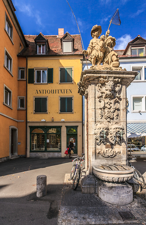 Fischerbrunnen statue in Würzburg, Germany. The statue stands in the place of the old fish market.