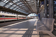 Coronavirus / Covid 19 outbreak, April 7th. 2020. Empty platforms and only few trains and travellers at the main station, Cologne, Germany.<br /> <br /> Coronavirus / Covid 19 Krise, 7. April 2020. Leere Bahnsteige und nur wenige Zuege und Reisende am Hauptbahnhof, Koeln, Deutschland.
