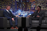 Los Angeles Rams linebacker Samson Ebukam (right) is interviewed by Fox Sports football analyst Joel Klatt during the 14th LA Sports Awards in Beverly Hills, Calif., Monday, March 25, 2019. Ebukam was recognized as a part of the Rams 54-51 victory over the Kansas City Chiefs on Nov 20, 2018-the highest scoring game in Monday Night Football history-as the top sports moment of the year.
