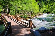 Happy Isles trail bridge over the Merced River, Yosemite National Park, California USA