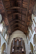 Historic wooden roof beams inside church of Saint Michael, Framlingham, Suffolk, England, UK