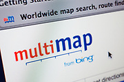 Computer screen showing the website for online mapping site Multi Map. Powered by Bing.