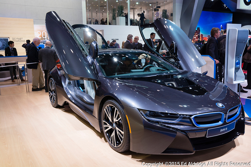 DETROIT, MI, USA - JANUARY 12, 2015: BMW i8 on display during the 2015 Detroit International Auto Show at the COBO Center in downtown Detroit.