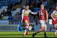 Jackson Hastings (31) of Wigan Warriors kicks the ball during the Betfred Super League match between Huddersfield Giants and Wigan Warriors at the John Smiths Stadium, Huddersfield, England on 1 March 2020.