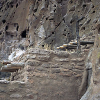 USA, New Mexico, Bandelier National Monument. Prehistoric Anasazi cliff dwelling and settlement near Santa Fe and Los Alamos.