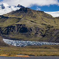 View on the Skeiðarárjökull Glacier fringe which runs down from Vatnajökull, the largest glacier in Island.