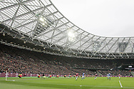 Wide angle shot mid-game during the The FA Cup 3rd round match between West Ham United and Birmingham City at the London Stadium, London, England on 5 January 2019.