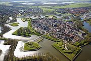 Nederland, Noord-Holland, Naarden, 16-04-2008; Naarden vesting met het Naardermeer in de achtergrond; natuurgebied...luchtfoto (toeslag); aerial photo (additional fee required); .foto Siebe Swart / photo Siebe Swart