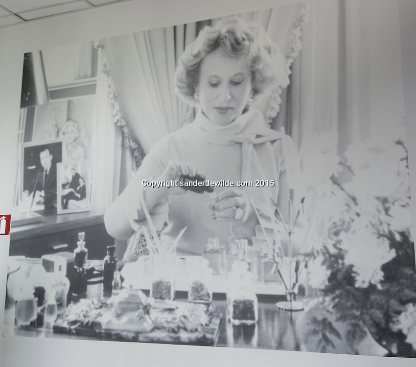 Oevel 27 July 2015 Estee Lauder<br /> details of the interior with a picture of the founder: Estee Lauder  in the Estee Lauder Plant in Oevel, Flanders, Belgium.