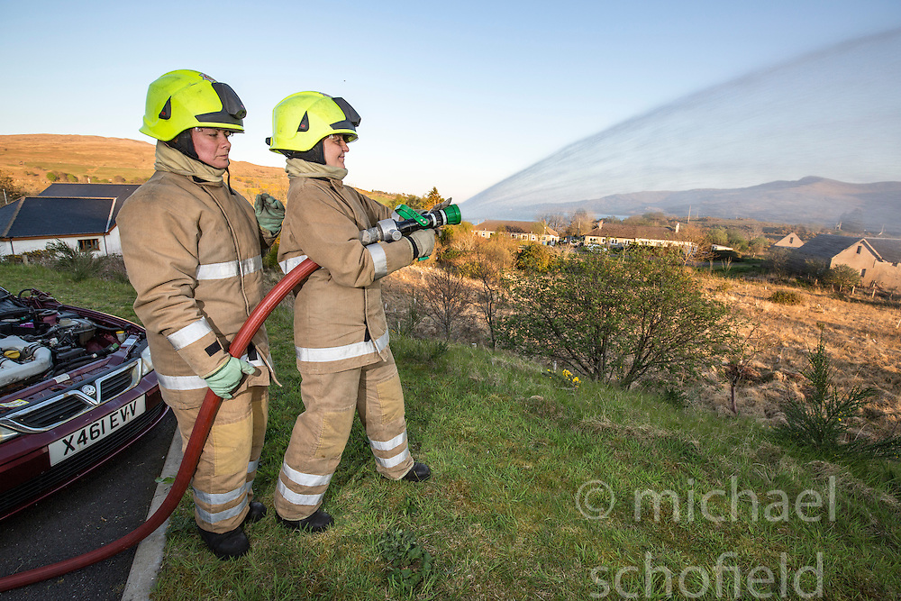 Annabel Lawrence and Bonny Mealand. News feature on the nearly all-female firefighting crew based at the Fire Shed, Lochaline, on the Morvern Peninsula.