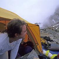 MOUNTAINEERING, Grand Teton National Park, Wyoming.  Kristen Ulmer at Lower Saddle camp below Grand Teton.