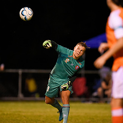 BRISBANE, AUSTRALIA - FEBRUARY 10: Macklin Freke of the Roar passes the ball during the NPL Queensland Senior Mens Round 2 match between Gold Coast United and Brisbane Roar Youth at Station Reserve on February 10, 2018 in Brisbane, Australia. (Photo by Football Click / Patrick Kearney)