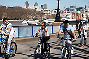 Cycling along the Southbank on a spring afternoon, London. South Bank is an area of London, England located immediately adjacent to the south bank of the River Thames. It forms a long and narrow section of riverside development that is within the London Borough of Lambeth and partly in the London Borough of Southwark. It developed much more slowly than the north bank of the river due to adverse conditions, and throughout its history has twice functioned as an entertainment district, separated by a hundred years of use as a location for industry. The South Bank is a significant arts and entertainment district.