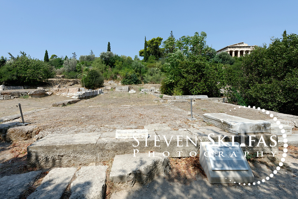 Gateway to the New Bouleuterion. Ancient Agora. Athens. Greece. This was roofed gateway (Propylon) in Ionic order. It dates to the second half of the 4th century BC.