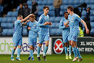 Coventry City midfielder Luke Thomas (23) on loan from Derby County, scores a goal and celebrates to make the score 1-1 during the EFL Sky Bet League 1 match between Coventry City and AFC Wimbledon at the Ricoh Arena, Coventry, England on 12 January 2019.