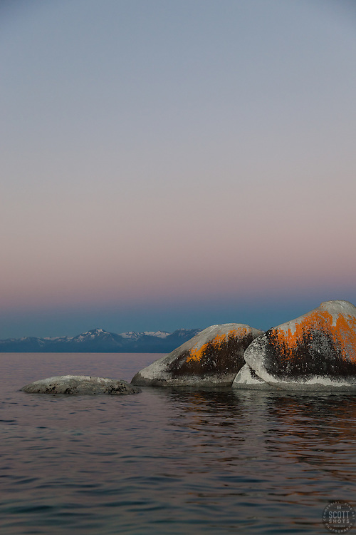 """""""Tahoe Boulders at Sunrise 8"""" - These orange, black, and grey boulders were photographed at sunrise from a kayak near Speedboat Beach, Lake Tahoe."""