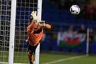 Marco Silvestri , the Leeds Utd goalkeeper makes a save from Cardiff's Peter Whittingham, stats show that the keeper made more saves in this match than any other goalkeeper in the Championship this season. Skybet football league championship match, Cardiff city v Leeds Utd at the Cardiff city stadium in Cardiff, South Wales on Tuesday 8th March 2016.<br /> pic by Andrew Orchard, Andrew Orchard sports photography.