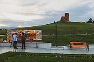 """The """"We Are Our Mountains"""" monument, located on the outskirts of Stepanakert, Nagorno-Karabakh. The sculpture, hewn from volcanic tufa and completed in 1967 by Sargis Baghdasaryan, depicts an old man and woman who represent the mountain people of Karabakh.<br /> <br /> (September 22, 2016)"""