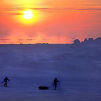Expedition Skiers Reinhold & Hubert Messner ski on frozen Arctic Ocean by Severnaya Zemlya, Russia, at beginning of attempted polar crossing.