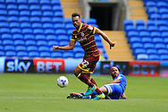 Steven Caulker of Queens Park Rangers gets to the ball ahead of Frederic Gounongbe of Cardiff city.EFL Skybet championship match, Cardiff city v Queens Park Rangers at the Cardiff city stadium in Cardiff, South Wales on Sunday 14th August 2016.<br /> pic by Andrew Orchard, Andrew Orchard sports photography.