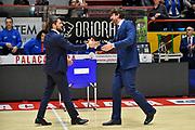 Gianmarco Pozzecco, Michele Carrea<br /> Oriora Pistoia - Banco di Sardegna Dinamo Sassari<br /> LBA Serie A Postemobile 2018-2019<br /> Pistoia, 04/01/2020<br /> Foto L.Canu / Ciamillo-Castoria