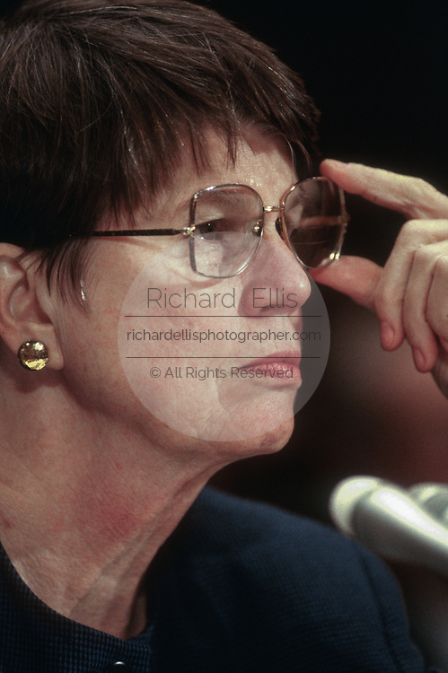 WASHINGTON, DC, USA - 1997/10/15: U.S. Attorney General Janet Reno testifies before the House Judiciary Committee on Capitol Hill October 15, 1997 in Washington, DC. Reno continue to defend her refusal to appoint an independent counsel to investigate campaign finance abuses demanded by Republicans.   (Photo by Richard Ellis)