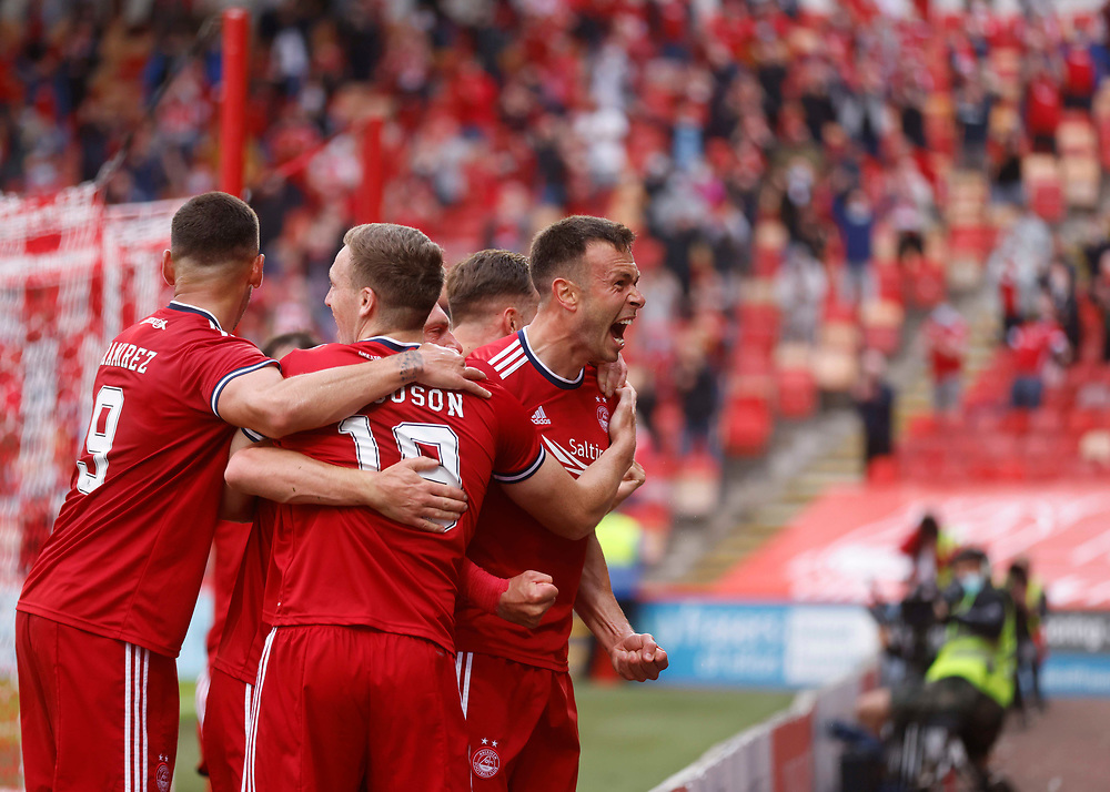 ABERDEEN, SCOTLAND - JULY 22 2021:<br /> <br /> The UEFA Europa Conference League Second qualifying round match 1st leg between and Aberdeen FC and BK Hacken at Pittodrie Stadium on July 22 2021 in Aberdeen Scotland<br /> <br /> (Photo by Derek Ironside/Newsline Media)
