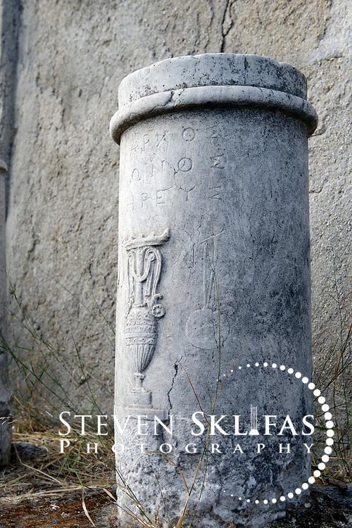 Sacred Way Hellenistic grave marker known as Kionsikoi. Kerameikos. Athens. Greece.