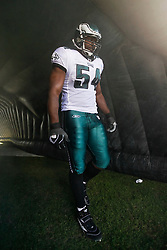 Philadelphia Eagles linebacker Jeremiag Trotter #54 prepares to enter the field before the NFL game between the Tampa Bay Buccaneers and the Philadelphia Eagles on October 11th 2009. This was Trotters first game back in the NFL as an Eagle. The Eagles won 33-14 at Lincoln Financial Field in Philadelphia, Pennsylvania. (Photo By Brian Garfinkel)