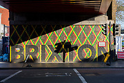 Bright sunshine illuminates a Brixton wall mural under a Network Rail bridge on Brixton Road on the 25th February 2019 in Brixton in the United Kingdom. A new English record was set on this day with temperatures rising to 20.1C in south-west London. It is the first time a temperature of over 20C has been recorded in England during winter.