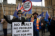 Anti Brexit pro Europe demonstrator dressed as Jacob Rees Mogg in Westminster on the day of the 'meaningful vote' when MPs will back or reject the Prime Minister's Brexit Withdrawal Agreement on 15th January 2019 in London, England, United Kingdom.