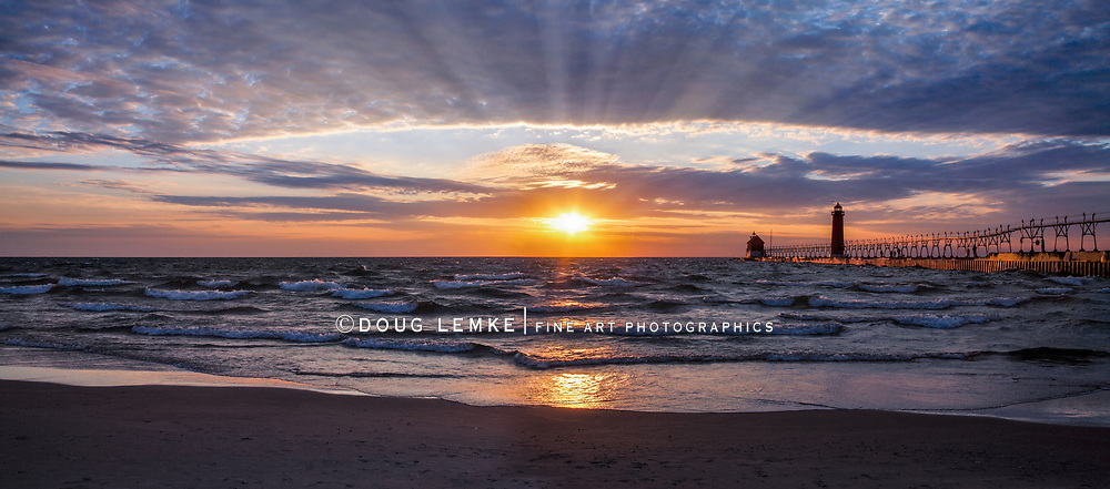 A Beautiful Sunset At The Grand Haven South Pierhead Lighthouse, Michigan, USA