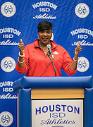 Wanda Adams comments during Athletic Signing Day at the Pavilion, February 1, 2017.