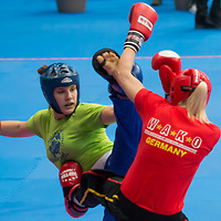 Gold medalist Ursa Terdin (L) of Slovenia and silver medalist Stefanie Kemper (R) of Germany fight in the 2 LC 043 S F -70 kg final at the WAKO (World Association of Kickboxing Organizations) World Kick-boxing Championships in Budapest, Hungary on Nov. 10, 2017. ATTILA VOLGYI