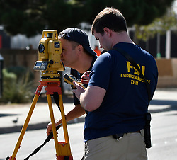 Oct 3,2017. Las Vegas NV.  FBI  start their second day investigation at the concert scene after Sundays mass shooting Tuesday morning.  The latest on victims as of Tuesday is still 59 dead, 527 injured last reported Monday night.  The shooting happen during day 3 of the Route 91 Harvest Festival.. Photo by Gene Blevins/ZumaPress. (Credit Image: © Gene Blevins via ZUMA Wire)