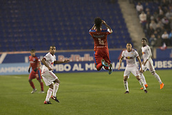 March 1, 2018 - Harrison, New Jersey, United States - Luis Ovalle (4) of CD Olimpia of Honduras jumps for air ball during 2018 CONCACAF Champions League round of 16 game against New York Red Bulls at Red Bull arena, Red Bulls won 2 - 0  (Credit Image: © Lev Radin/Pacific Press via ZUMA Wire)
